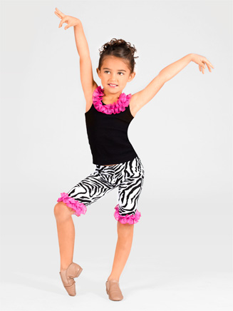 Child Zebra Ruffle Capri Pants - Style No PA2728