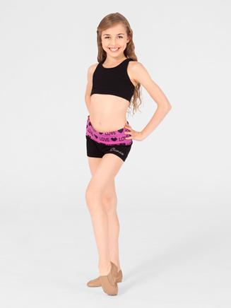 Urban Dancewear Adult and Child Bling Love Yoga Short