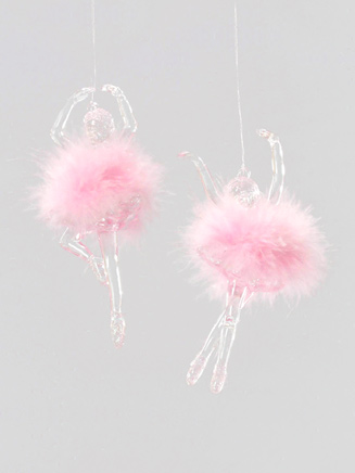 Pink Marabou Puff Ballerina Ornament - Style No W0690