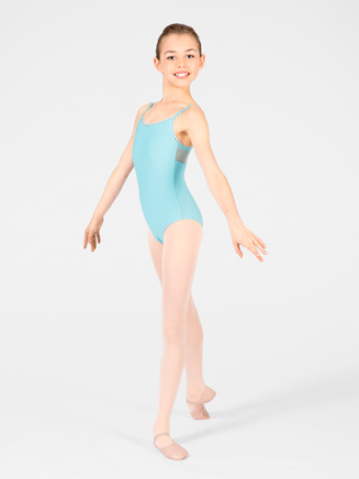 """Flora"" Child Sheer Panel Camisole Leotard - Style No WM114C"