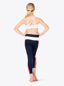 Girls Three-Tone Ankle-Length Workout Leggings