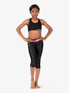 Girls Workout Graphic Print HeatGear Cropped Leggings
