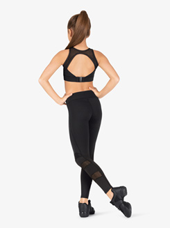 Girls Mesh Full Length Dance Leggings