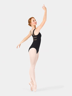Adult Horizontal Mesh Insert Tank Leotard