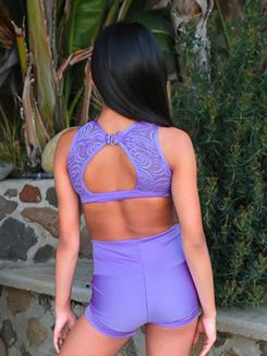 Womens Lace Back Cutout Dance Bra Top