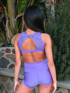 Girls Lace Back Cutout Dance Bra Top