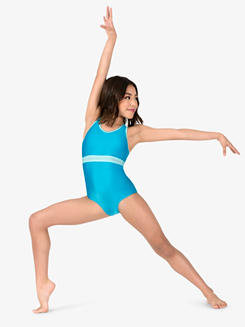 Girls Crisscross Back 2-Tone Tank Leotard
