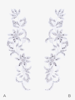 Rhinestone Floral Viola Applique with Swarovski Crystals