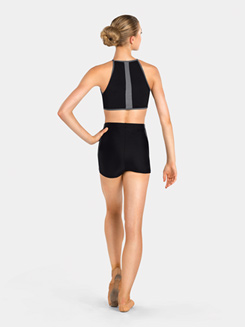 Adult Two-Tone Halter Crop Top