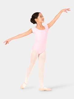 Girls Strappy Back Compression Short Sleeve Leotard