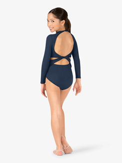Girls Twist Back Long Sleeve Leotard
