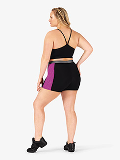 Womens Plus Size Team Three-Tone Compression Shorts