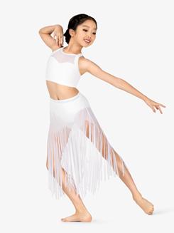 Girls Performance Asymmetrical Hem Fringe Skirt