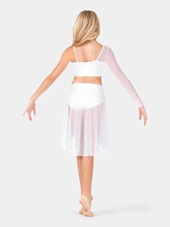 Girls Asymmetrical Faux Wrap Crop Dance Top