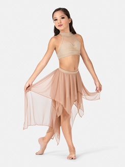 Child Double Layer High-Low Dance Skirt