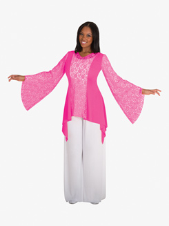 Adult Plus Worship Draped Lace Tunic