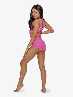 Womens Printed V-Back Tank Dance Crop Top
