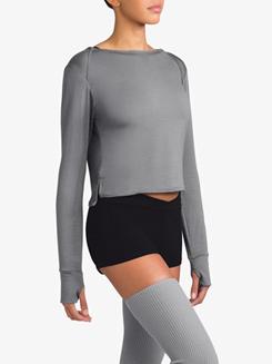 Womens Long Sleeve Warm Up Crop Top