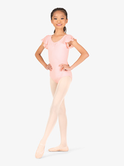 Girls Scarlet Hologram Flutter Sleeve Leotard