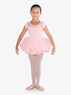Girls Flower Print Mesh Ballet Tutu Dress