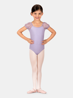 Girls Malene Flower Sequin Tulle Short Sleeve Leotard