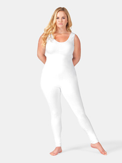 Adult Plus Size Scoop Neck Cotton Tank Unitard
