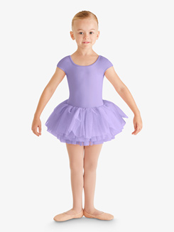 Girls Cap Sleeve Mesh Heart Back Ballet Tutu Dress