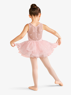 Kids Keyhole Back Bow Adorned Mesh Tank Leotard