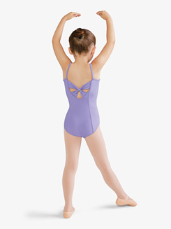Kids Keyhole Back Bow Adorned Mesh Camisole Leotard