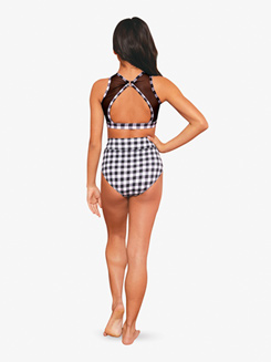 Womens Gingham Printed Tank Dance Crop Top