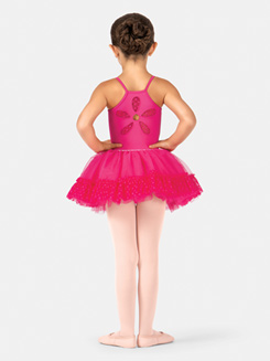 Child Heart Mesh Trim Ballet Tutu