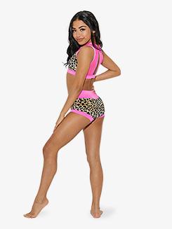 Girls Animal Print High Waist Dance Shorts