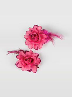 Flower & Feather Hair Clip Pair