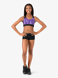 Child Racerback Sublimated Dance Print Tribal Swirl Crop Top