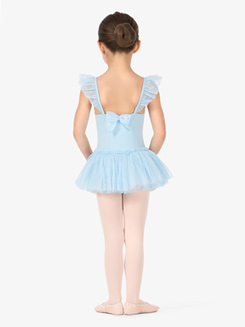 Girls Glitter Mesh Flutter Sleeve Ballet Dress