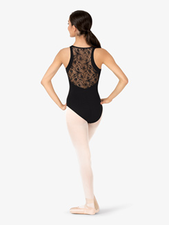 Womens Wrap Sheer Swirl Lace Back Tank Leotard