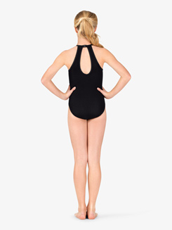 Girls Back Cutout Halter Leotard