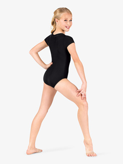 Girls V-Front Short Sleeve Leotard