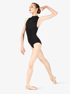Womens Laser Cut Open Back Mock Neck Leotard