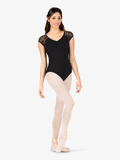 Womens Pinched V-Front Sheer Swirl Lace Back Leotard