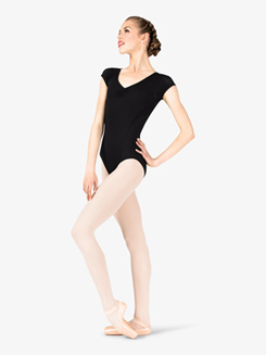 Womens Athletic Style Mesh Back Cap Sleeve Leotard