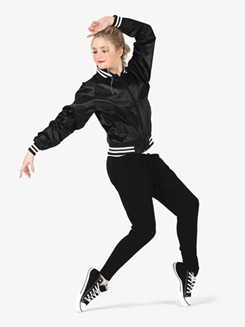 Womens Zip Up Satin Dance Bomber Jacket