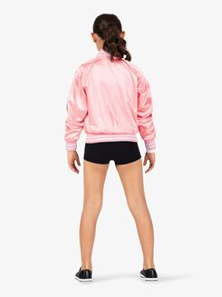 Girls Zip Up Satin Dance Bomber Jacket