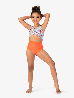 Girls Orange Floral Print Tank Leotard