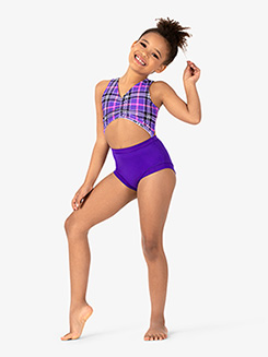 Girls Checkered Print Tank Leotard