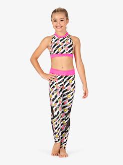 Girls Flower Stripe Print Dance Halter Bra Top