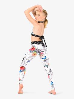 Girls Polka Dot Floral Dance Halter Bra Top