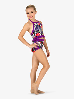 Girls Ruffled Cheetah Floral Print Dance Bra Top