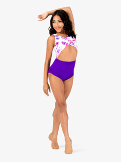 Girls Purple Flower Cutout Tank Leotard