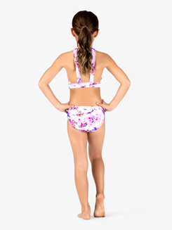 Girls Purple Flower Lace Dance Briefs